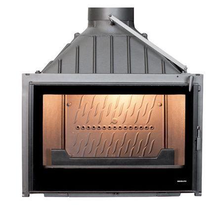 Teljesen ZÁRT öntvény kandallóbetét. 100% külső levegőt használ az égéshez és az üveg öblítéshez.
